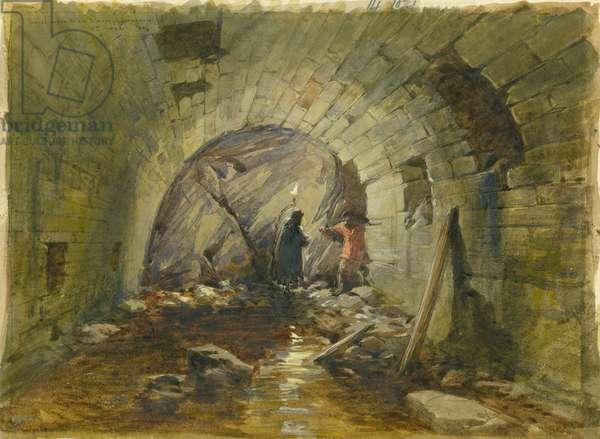 Tunnel under the Via Dolorosa, Jerusalem, 1869 (w/c & pencil on paper)