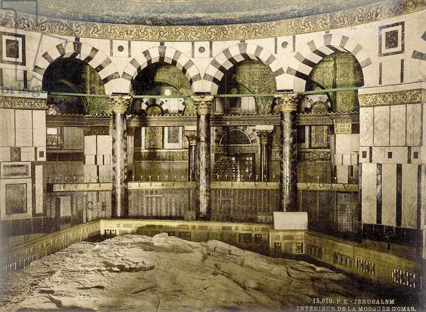 Interior of Dome of the Rock in Jerusalem with a view of the rock, c.1880-1900 (photochrom)