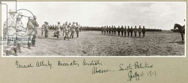 General Allenby decorating Australian troops at Abassan, South Palestine, August 1917 (b/w photo)