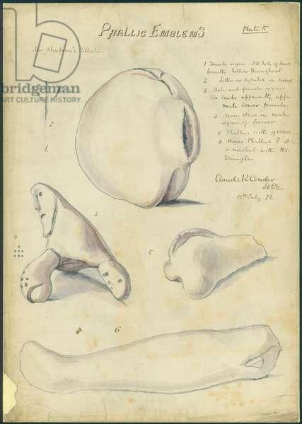 Phallic Emblems, Mr Shapira's Collection, plate 5, 1872 (w/c & pencil on paper)