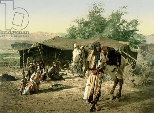 Bedouins in front of their tent in the Jordan Valley, c.1880-1900 (photochrom)
