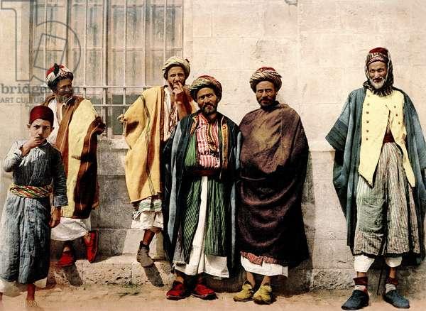 Christian peasants from the Bethlehem region, c.1880-1900 (photochrom)