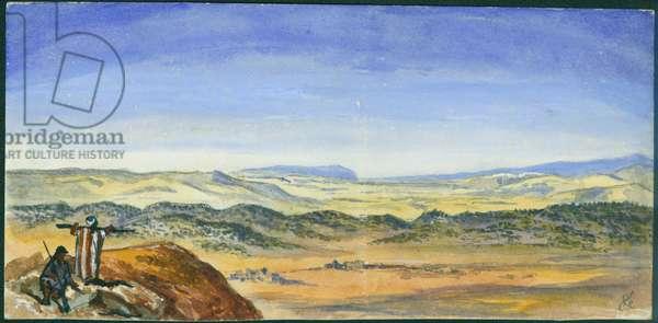 Plain of Esdraelon & Carmel, View from Ras el'Akrah, 1872 (w/c & pencil on paper)