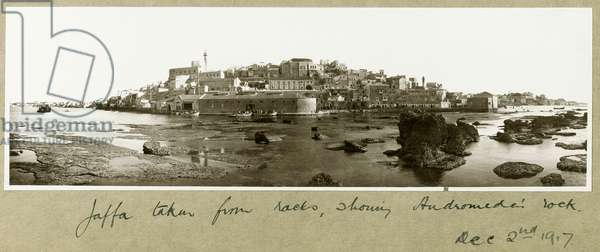 Old Jaffa, showing Andromeda's rock, 2nd December 1917 (b/w photo)