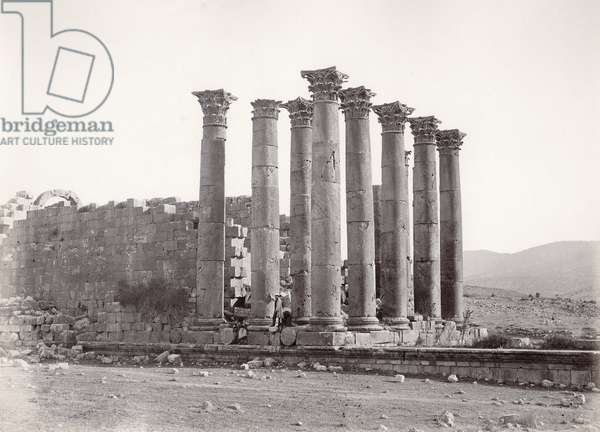 Temple of Artemis from the South-East, Jerash, 1867 (b/w photo)