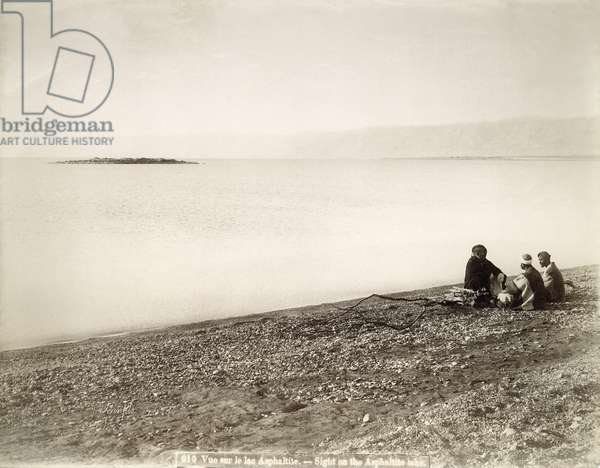 The north end of the Dead Sea with the island of Rujm el Bahr, c.1867-96 (b/w photo)