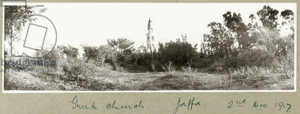Greek church, Jaffa, 2nd December 1917 (b/w photo)
