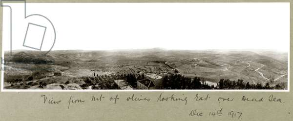 View from the Mount of Olives looking East over the Dead Sea, 14th December 1917 (b/w photo)