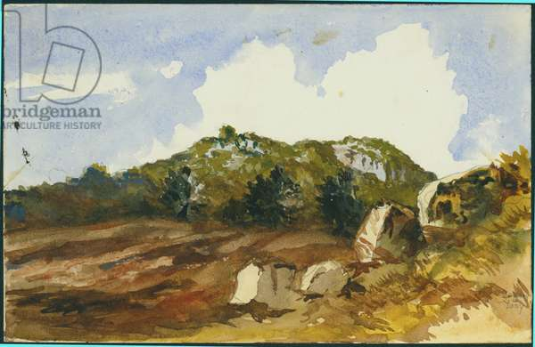 The Mahrakah, Carmel, 1872 (w/c & pencil on paper)