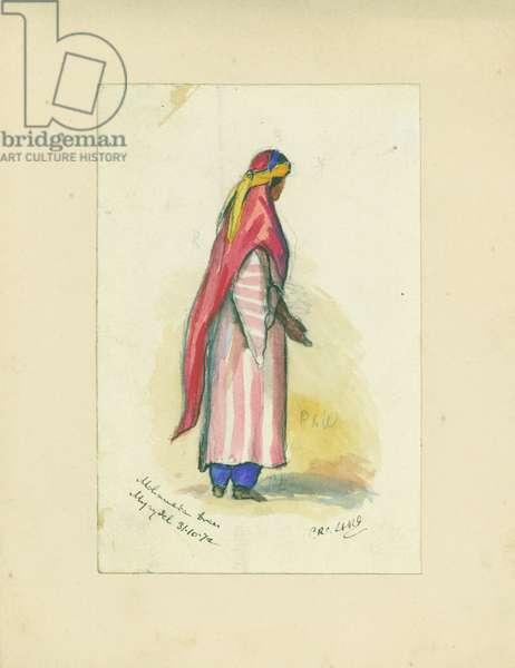 Mohametan Dress, Mujaydel, 1872 (w/c & pencil on paper)