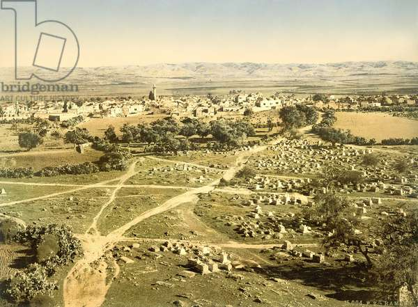 View of the town of Ramleh with cemetery in the foreground, c.1880-1900 (photochrom)