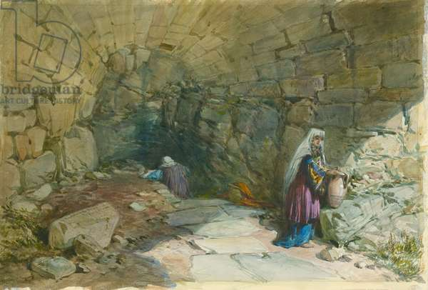 The Fountain of the Virgin, Jerusalem, 1869 (w/c & pencil on paper)