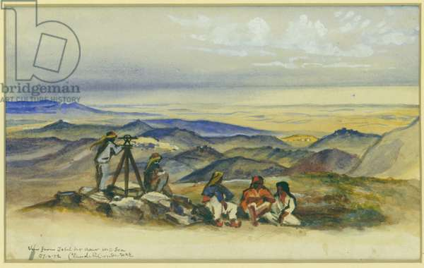 View from Jebel Bir Asur to the Sea, 1872 (w/c & pencil on paper)