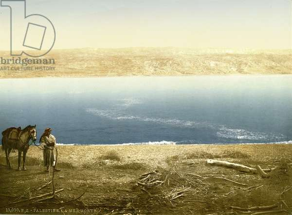 View of the Dead Sea looking East towards Moab, c.1880-1900 (photochrom)