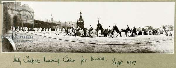 Holy Carpet leaving Cairo for Mecca, September 1917 (b/w photo)