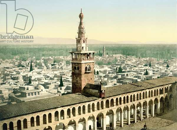 The so-called 'Minaret de la Fiancee' of the Great Umayyad Mosque at Damascus, c.1880-1900 (photochrom)