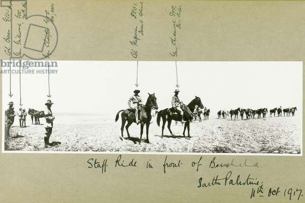 Staff ride in front of Beersheba, South Palestine, October 1917 (b/w photo)