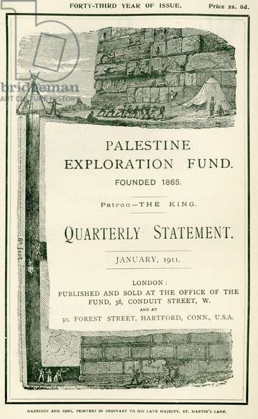 Frontispiece depicting the explorations undertaken by Lieutenant Charles Warren and his men, near the southern wall of the Haram al Sharif, Jerusalem, from the Quarterly Statement of the Palestine Exploration Fund, January 1911 (litho)