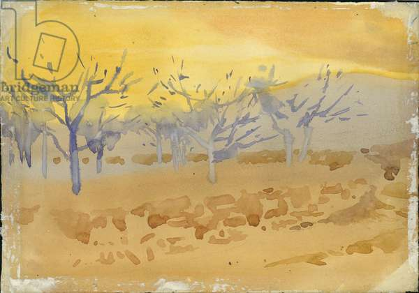 Fig orchards at Sunset, yellow background the hills of Lebanon, 1896 (w/c on paper)