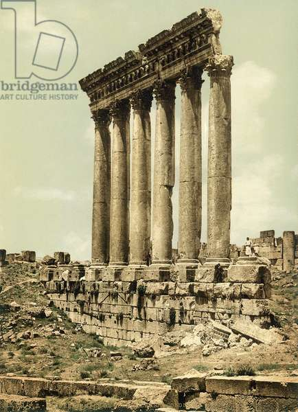 Peristyle of the Temple of Jupiter, Baalbek, c.1880-1900 (photochrom)