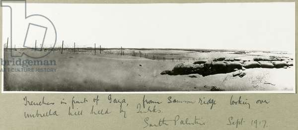 Trenches in front of Gaza, from Samson Ridge looking over Umbrella Hill, September 1917 (b/w photo)