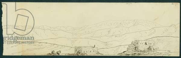 View of Jebel Sunnin and Kefr Silwan from B'kamdun, 1871 (pen & ink on paper)