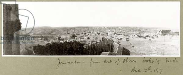 Jerusalem from the Mount of Olives looking West, 14th December 1917 (b/w photo)