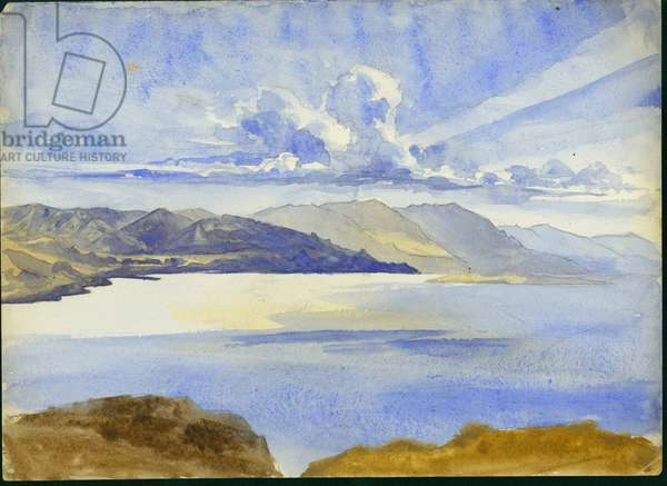 Dead Sea View looking South, 1875 (w/c & pencil on paper)