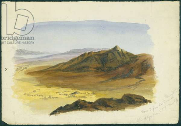 View of the Jordan Valley looking South, 1874 (w/c & pencil on paper)