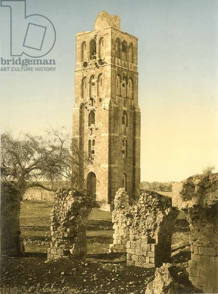 The tower of the Mosque of Ramleh with ruined vaults in the foreground, c.1880-1900 (photochrom)