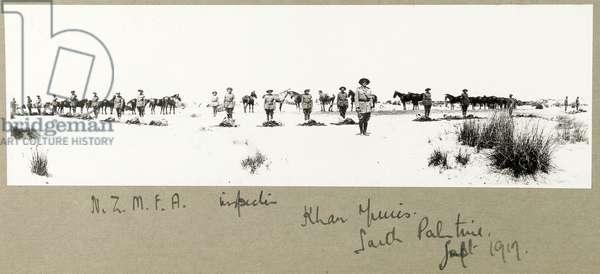 N.Z.M.F.A. inspection, Khan Yunis, September 1917 (b/w photo)