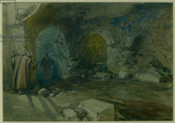 Crypt of the Church of St. Anne, Jerusalem, 1872 (w/c & pencil on paper)