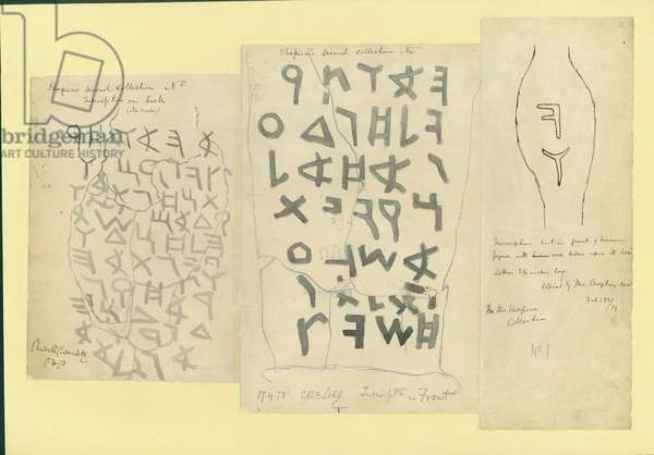 Inscriptions on an earthenware disc from Shapira's 2nd Collection, 1873 (w/c & pencil on paper)