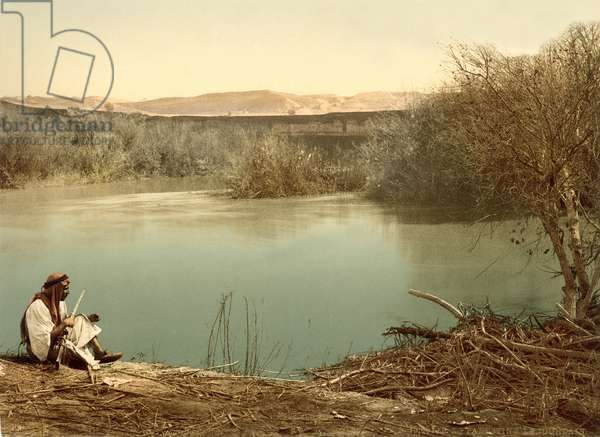The Jordan River looking East towards Transjordan, c.1880-1900 (photochrom)