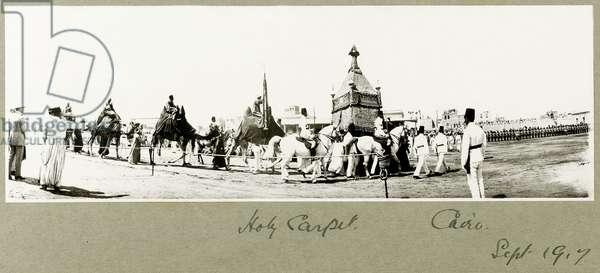 Holy Carpet, Cairo, September 1917 (b/w photo)