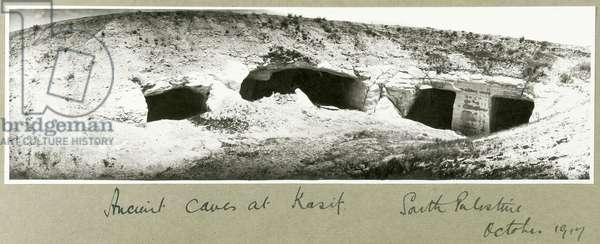 Ancient caves at Kasif, South Palestine, October 1917 (b/w photo)
