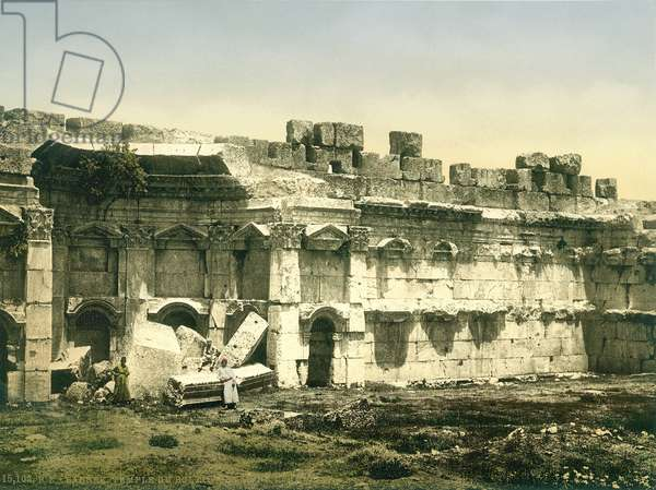 Part of the enclosure of the Temple of Jupiter, Baalbek, c.1880-1900 (photochrom)