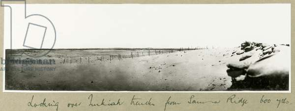 Looking over Turkish trenches from Samson Ridge, September 1917 (b/w photo)