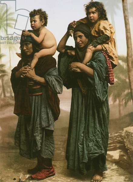 Bedouin women and children from the North of Palestine with tattooed faces, c.1880-1900 (photochrom)