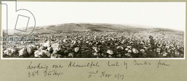 Looking over Khuwelfeh held by Turks, 2nd November 1917 (b/w photo)