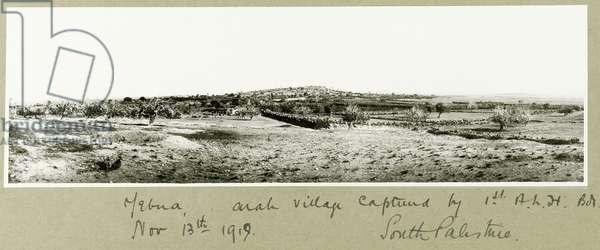 Yebna, Arab village captured by the 1st A.L.H. Brigade on 13th November 1917 (b/w photo)