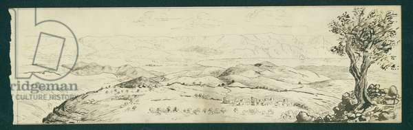Looking East from El Tell (pen & ink on paper)