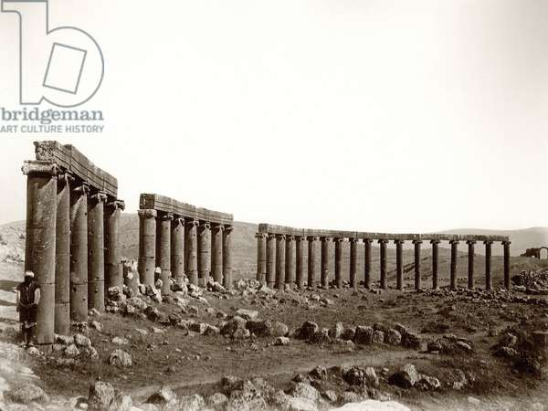 The oval columned piazza from the north west, Jerash, 1867 (b/w photo)