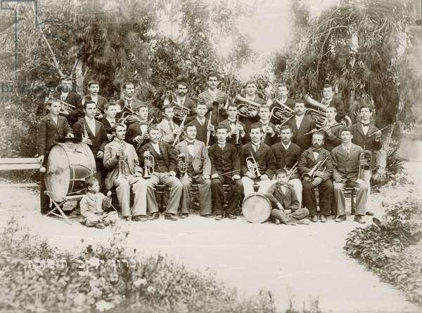 The orchestra group shot at Zichron Yaacov, c.1898-1900 (b/w photo)