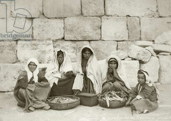 A group of fellahin at the end of the market, c.1867-98 (b/w photo)