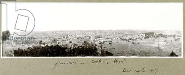 Jerusalem looking West, 14th December 1917 (b/w photo)