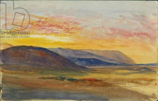 Mount Carmel in Autumn, looking West at Sunset, 1872 (w/c & pencil on paper)