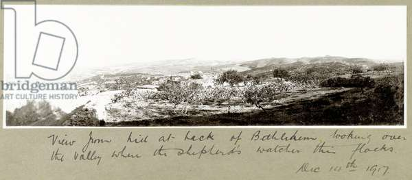 View from the hill behind Bethlehem, 14th December 1917 (b/w photo)