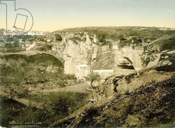 Jeremiah's Grotto, Jerusalem, c.1880-1900 (photochrom)