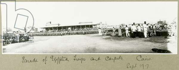 Parade of Egyptian troops and carpets, Cairo, September 1917 (b/w photo)